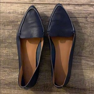J. Crew navy pointy toe loafers